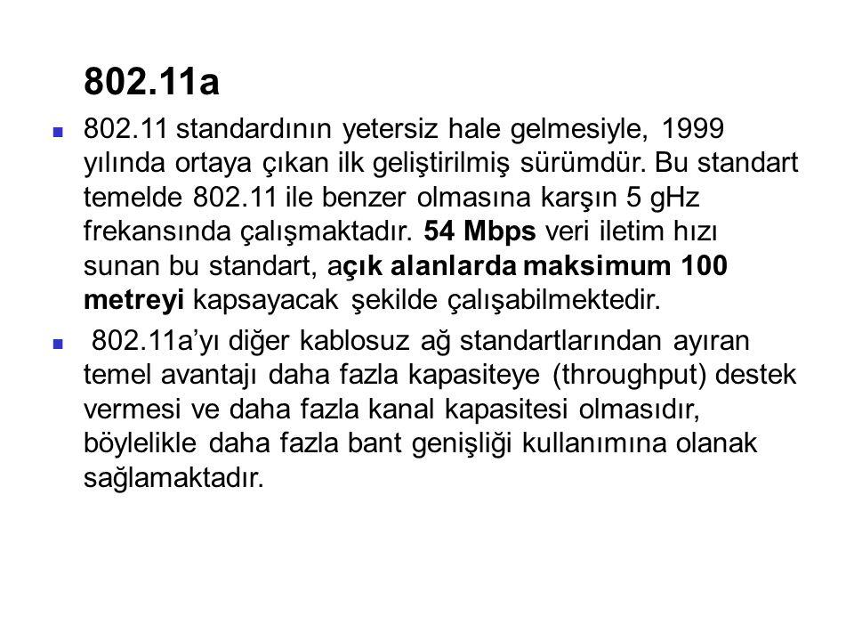 802.11a 802.11 standardının yetersiz hale gelmesiyle, 1999 yılında ortaya çıkan ilk geliştirilmiş sürümdür. Bu standart temelde 802.11 ile benzer olma