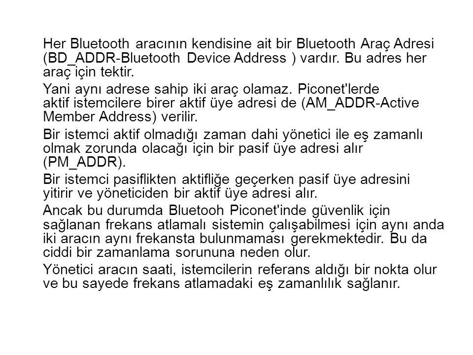 Her Bluetooth aracının kendisine ait bir Bluetooth Araç Adresi (BD_ADDR-Bluetooth Device Address ) vardır.