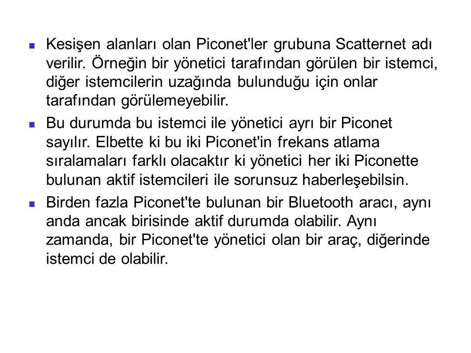 Kesişen alanları olan Piconet ler grubuna Scatternet adı verilir.