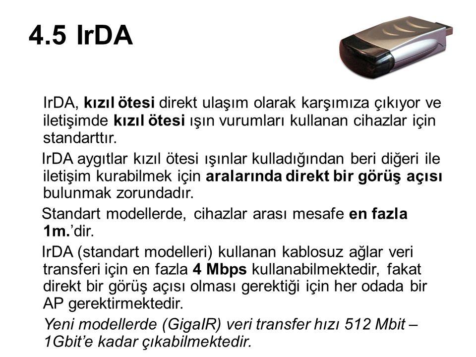 4.5IrDA IrDA, kızıl ötesi direkt ulaşım olarak karşımıza çıkıyor ve iletişimde kızıl ötesi ışın vurumları kullanan cihazlar için standarttır. IrDA ayg