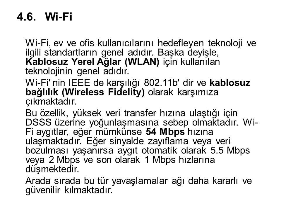 4.6.Wi-Fi Wi-Fi, ev ve ofis kullanıcılarını hedefleyen teknoloji ve ilgili standartların genel adıdır. Başka deyişle, Kablosuz Yerel Ağlar (WLAN) için
