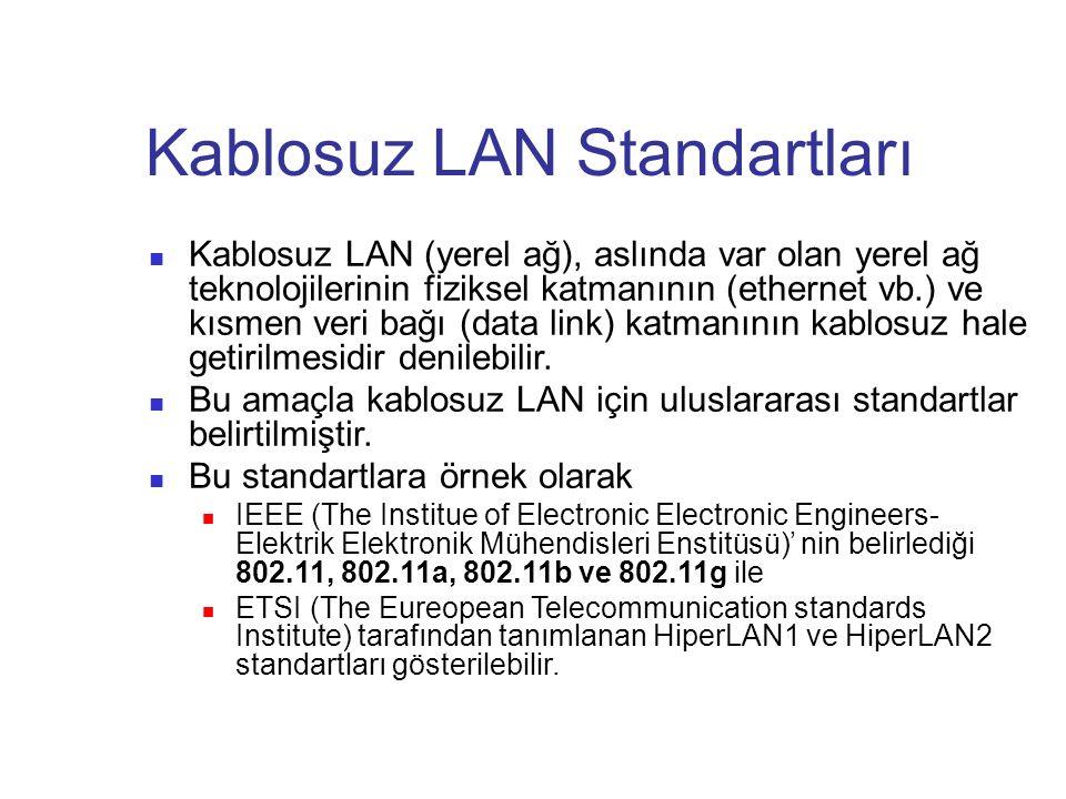 Kablosuz LAN Standartları Kablosuz LAN (yerel ağ), aslında var olan yerel ağ teknolojilerinin fiziksel katmanının (ethernet vb.) ve kısmen veri bağı (data link) katmanının kablosuz hale getirilmesidir denilebilir.