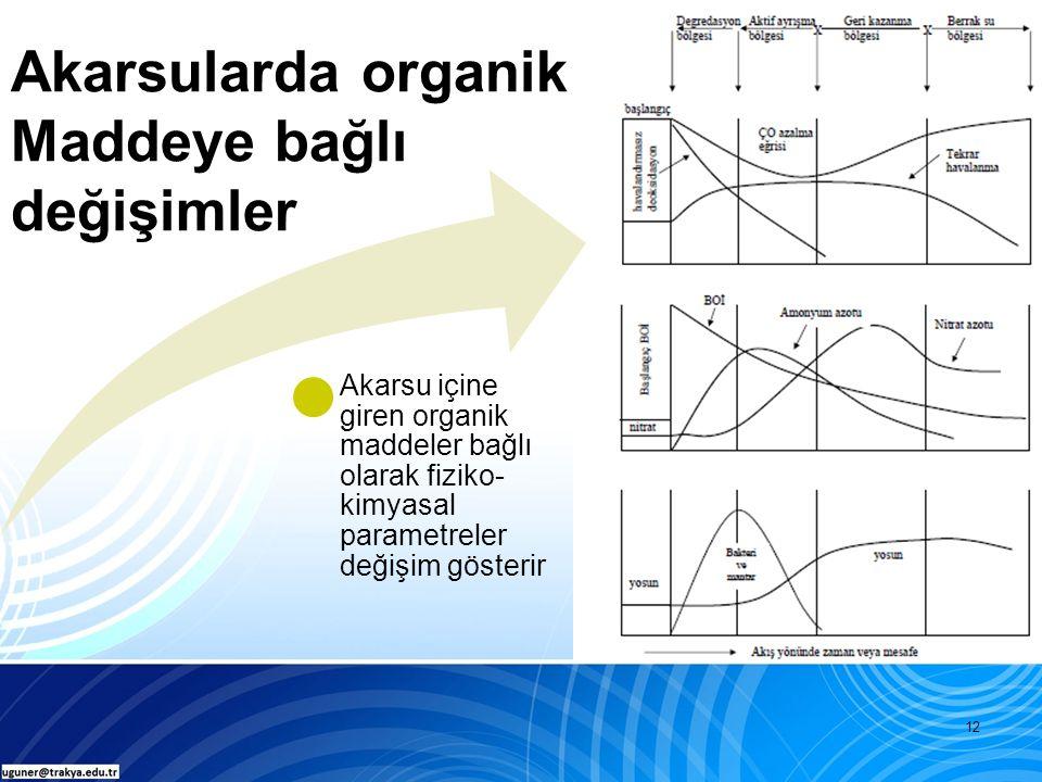 12 Akarsularda organik Maddeye bağlı değişimler Akarsu içine giren organik maddeler bağlı olarak fiziko- kimyasal parametreler değişim gösterir