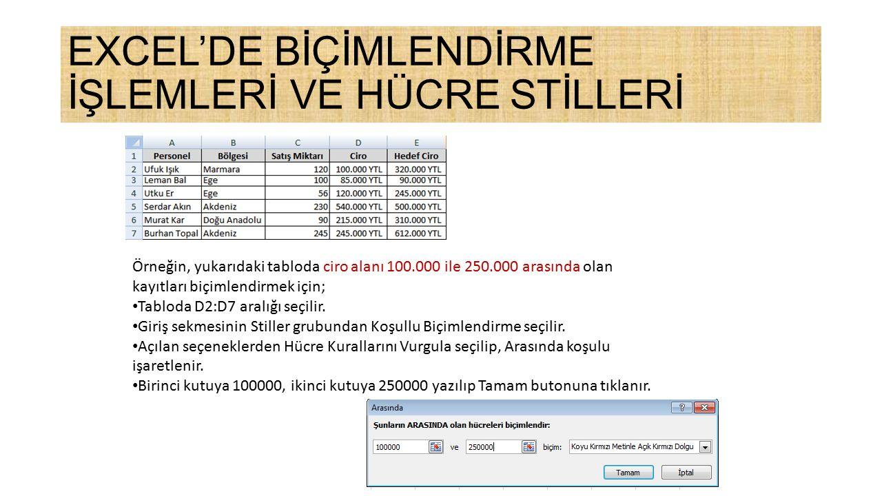 Örneğin, yukarıdaki tabloda ciro alanı 100.000 ile 250.000 arasında olan kayıtları biçimlendirmek için; Tabloda D2:D7 aralığı seçilir.