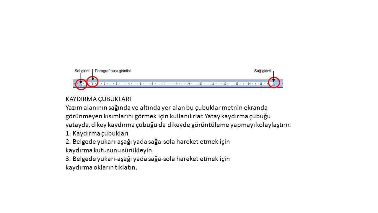 KAYDIRMA ÇUBUKLARI Yazım alanının sağında ve altında yer alan bu çubuklar metnin ekranda görünmeyen kısımlarını görmek için kullanılırlar. Yatay kaydı
