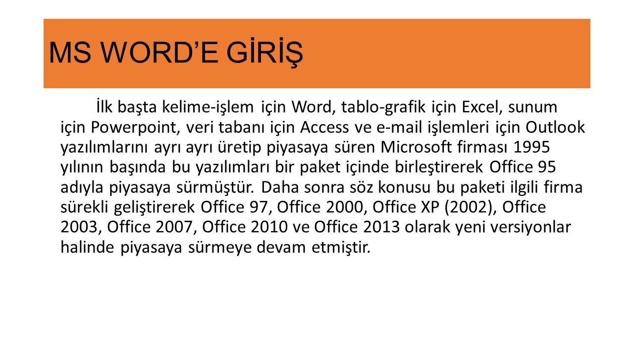 MS WORD'E GİRİŞ İlk başta kelime-işlem için Word, tablo-grafik için Excel, sunum için Powerpoint, veri tabanı için Access ve e-mail işlemleri için Outlook yazılımlarını ayrı ayrı üretip piyasaya süren Microsoft firması 1995 yılının başında bu yazılımları bir paket içinde birleştirerek Office 95 adıyla piyasaya sürmüştür.