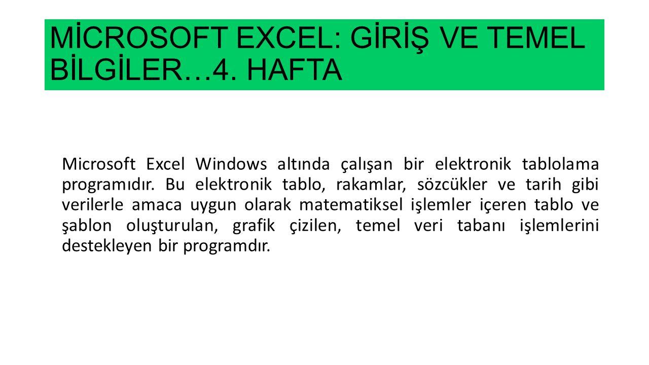 MİCROSOFT EXCEL: GİRİŞ VE TEMEL BİLGİLER…4. HAFTA Microsoft Excel Windows altında çalışan bir elektronik tablolama programıdır. Bu elektronik tablo, r