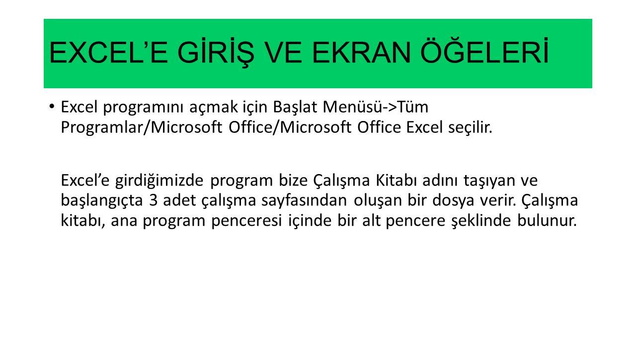 EXCEL'E GİRİŞ VE EKRAN ÖĞELERİ Excel programını açmak için Başlat Menüsü->Tüm Programlar/Microsoft Office/Microsoft Office Excel seçilir.