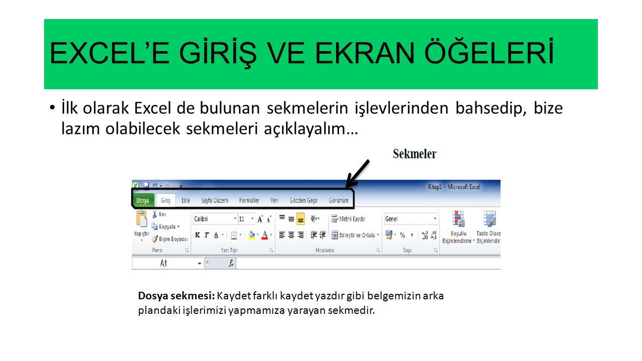 EXCEL'E GİRİŞ VE EKRAN ÖĞELERİ İlk olarak Excel de bulunan sekmelerin işlevlerinden bahsedip, bize lazım olabilecek sekmeleri açıklayalım… Dosya sekme