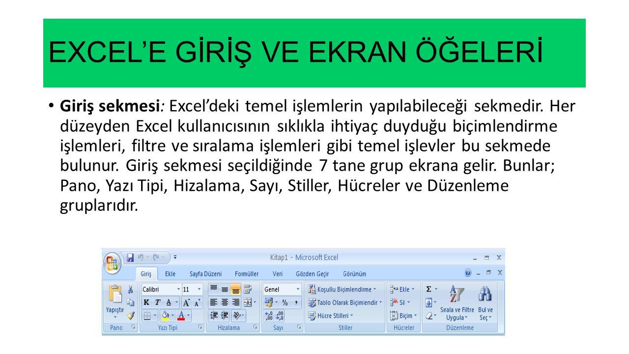 EXCEL'E GİRİŞ VE EKRAN ÖĞELERİ Giriş sekmesi: Excel'deki temel işlemlerin yapılabileceği sekmedir. Her düzeyden Excel kullanıcısının sıklıkla ihtiyaç
