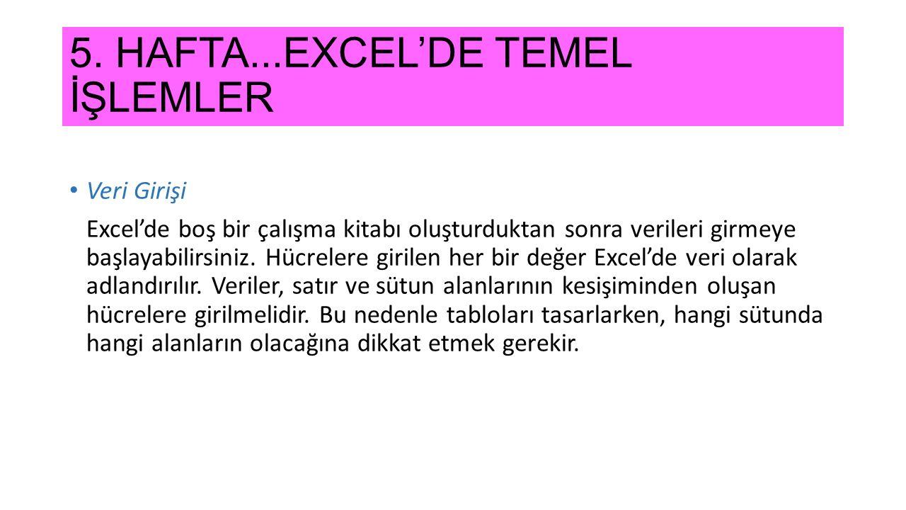 5. HAFTA...EXCEL'DE TEMEL İŞLEMLER Veri Girişi Excel'de boş bir çalışma kitabı oluşturduktan sonra verileri girmeye başlayabilirsiniz. Hücrelere giril