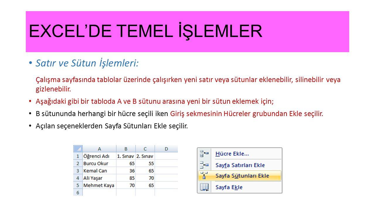 EXCEL'DE TEMEL İŞLEMLER Satır ve Sütun İşlemleri: Çalışma sayfasında tablolar üzerinde çalışırken yeni satır veya sütunlar eklenebilir, silinebilir ve