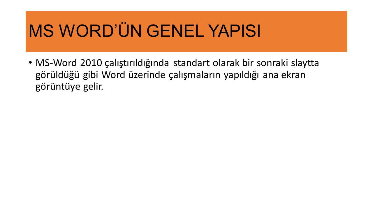 MS WORD'ÜN GENEL YAPISI MS-Word 2010 çalıştırıldığında standart olarak bir sonraki slaytta görüldüğü gibi Word üzerinde çalışmaların yapıldığı ana ekran görüntüye gelir.