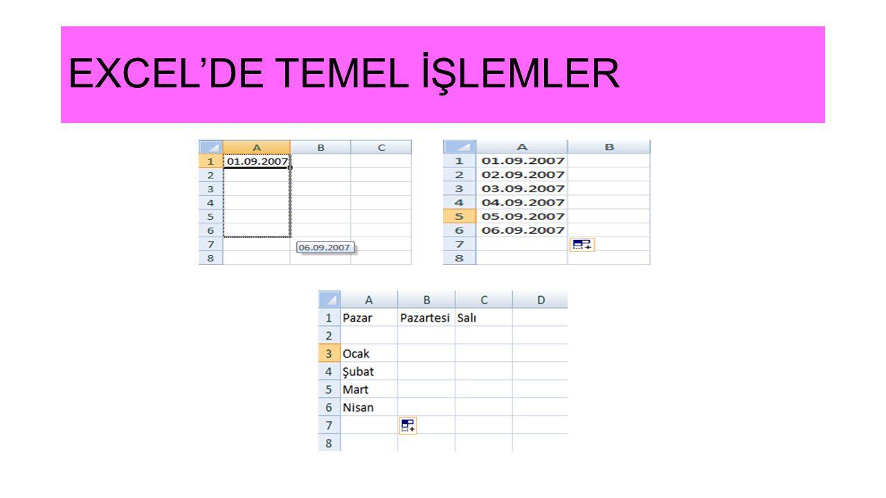EXCEL'DE TEMEL İŞLEMLER