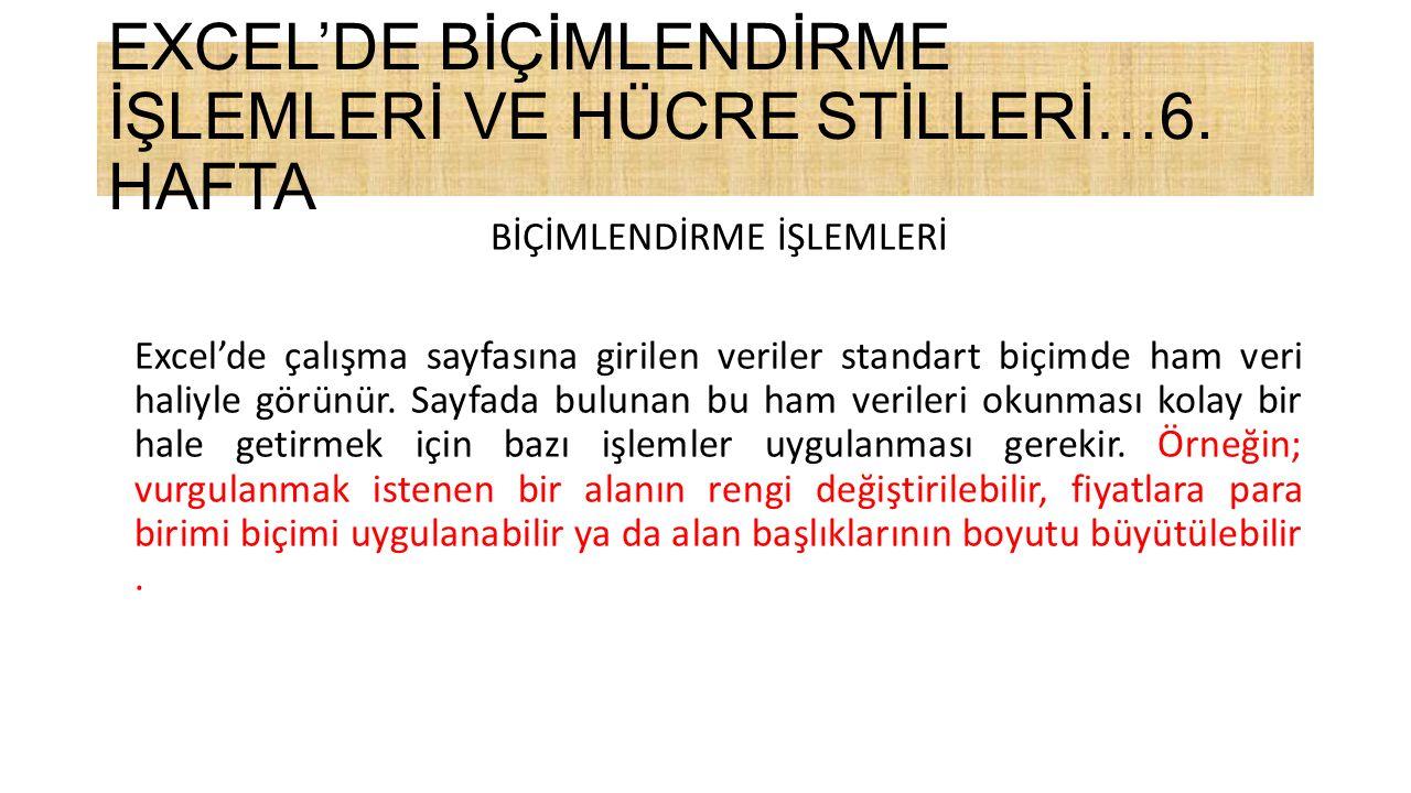 EXCEL'DE BİÇİMLENDİRME İŞLEMLERİ VE HÜCRE STİLLERİ…6.