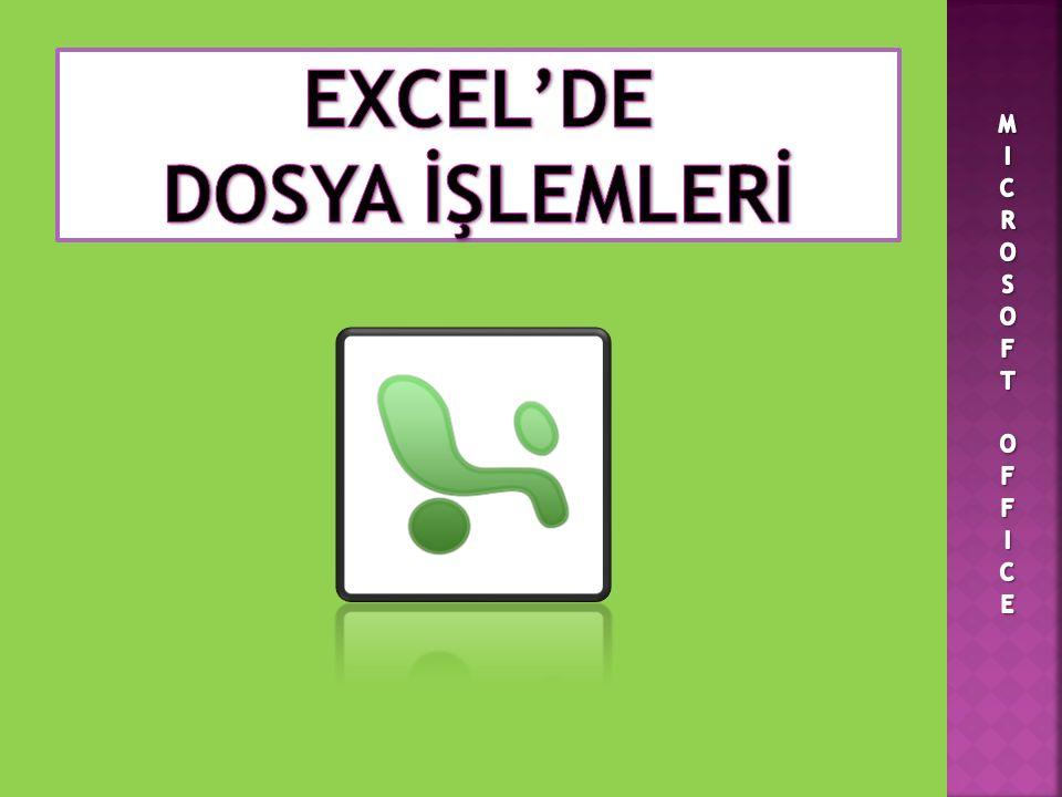  Daha önceden oluşturulmuş Excel kitaplarını açmak için; Dosya menüsünden Aç komutu tıklanır.
