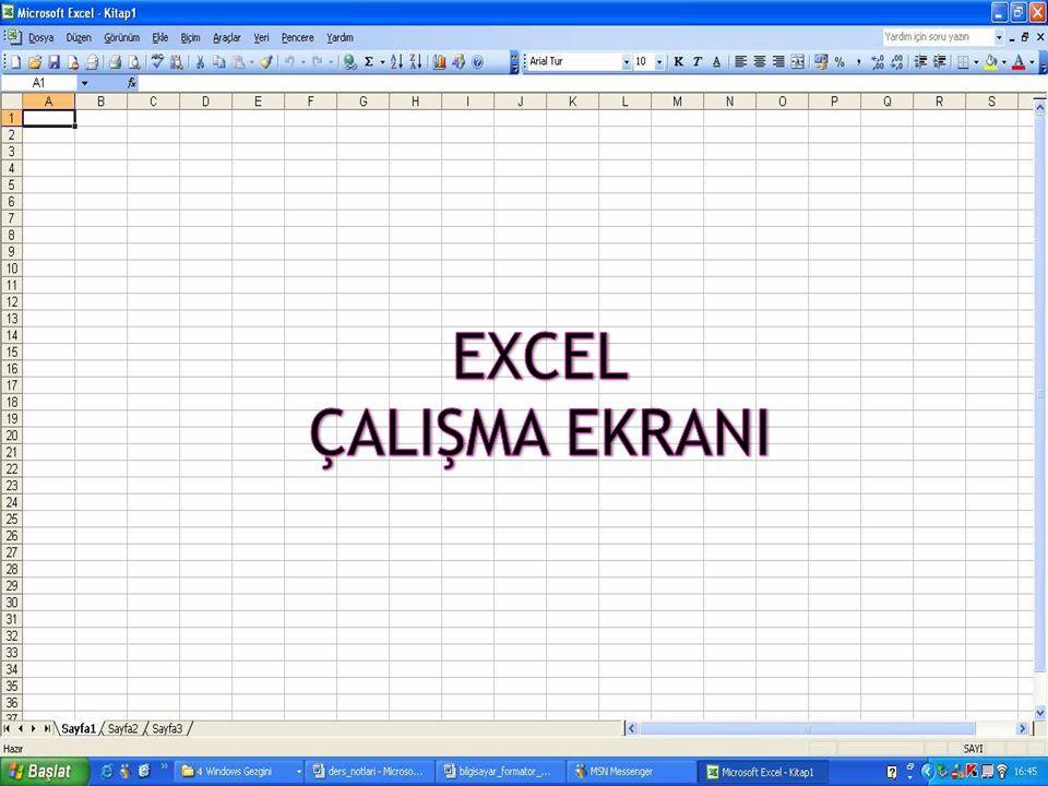  Excel'in Menü yapısı da diğer Office Programlarının menülerine benzer, Word ve Powerpoint'ten farklı olarak VERİ menüsü vardır.