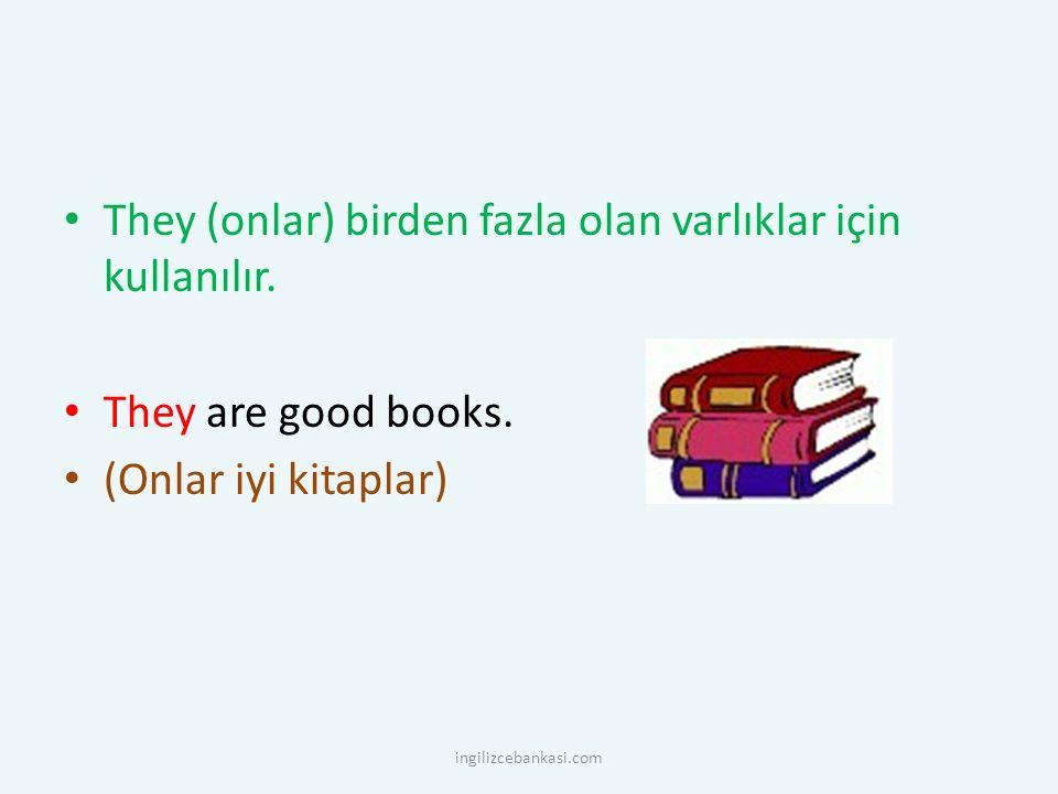 They (onlar) birden fazla olan varlıklar için kullanılır. They are good books. (Onlar iyi kitaplar) ingilizcebankasi.com