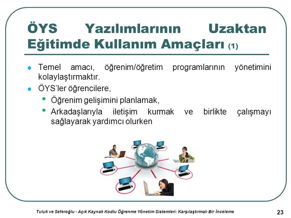 23 ÖYS Yazılımlarının Uzaktan Eğitimde Kullanım Amaçları (1) Temel amacı, öğrenim/öğretim programlarının yönetimini kolaylaştırmaktır.