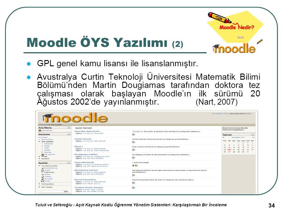 34 Moodle ÖYS Yazılımı (2) GPL genel kamu lisansı ile lisanslanmıştır.