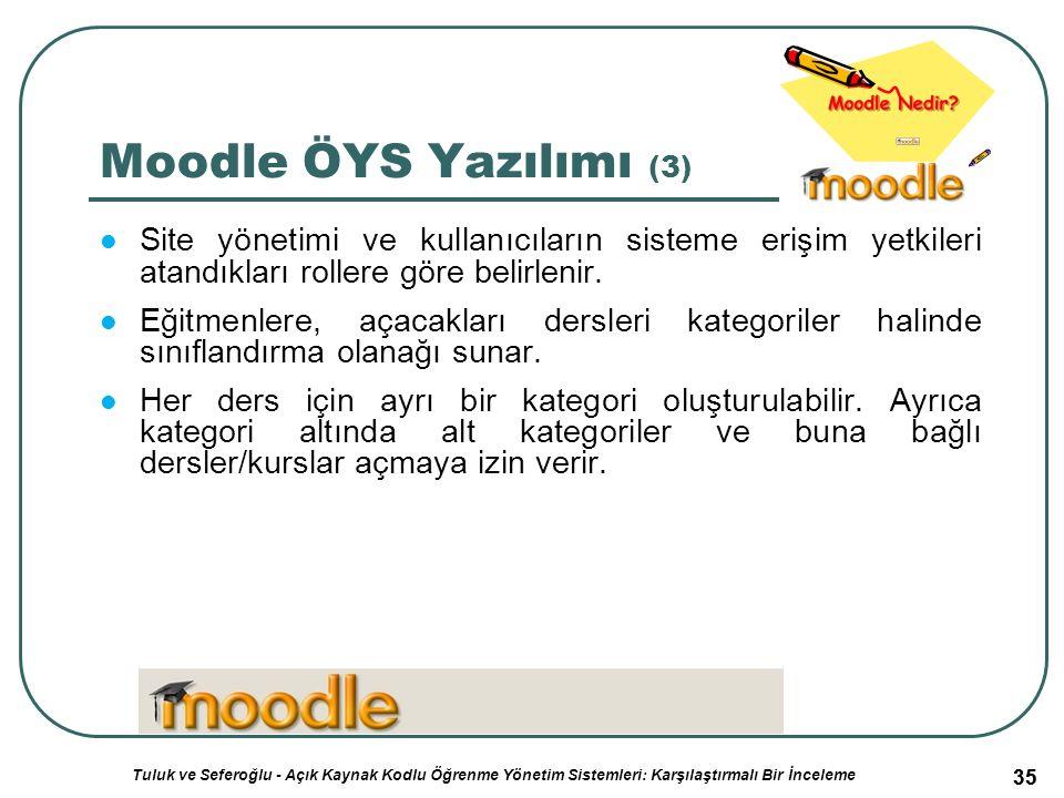 35 Moodle ÖYS Yazılımı (3) Site yönetimi ve kullanıcıların sisteme erişim yetkileri atandıkları rollere göre belirlenir.