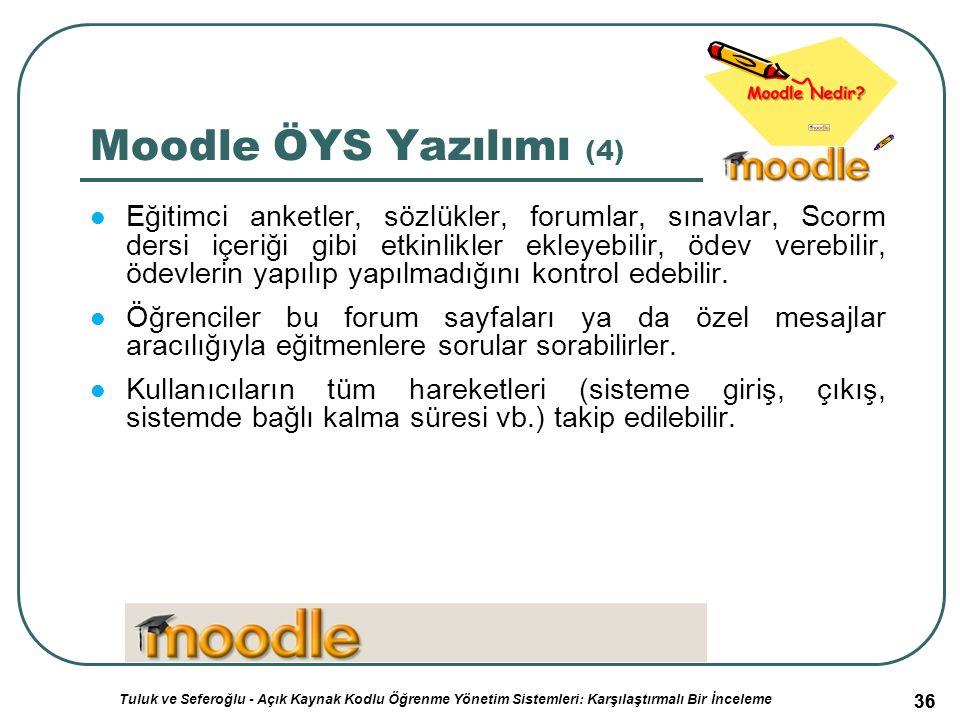 36 Moodle ÖYS Yazılımı (4) Eğitimci anketler, sözlükler, forumlar, sınavlar, Scorm dersi içeriği gibi etkinlikler ekleyebilir, ödev verebilir, ödevlerin yapılıp yapılmadığını kontrol edebilir.
