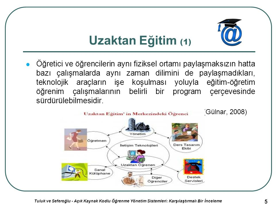 6 Uzaktan Eğitim (2) Geleneksel öğrenme-öğretme yöntemlerindeki sınırlılıklar nedeniyle sınıf içi etkinliklerin yürütülme olanağı bulunmadığı durumlarda eğitim çalışmalarını planlayanlar ve uygulayanlar ile öğrenenler arasında iletişim ve etkileşimin özel olarak hazırlanmış öğretim üniteleri ile çeşitli ortamlar yoluyla belirli bir merkezden sağlandığı bir öğretim yöntemidir.
