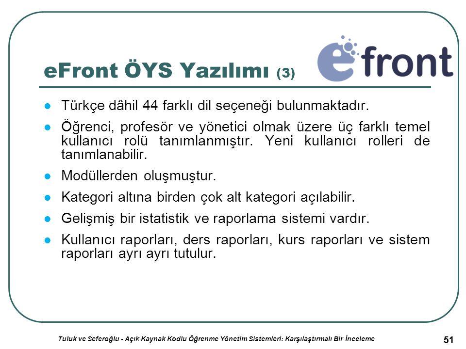 51 eFront ÖYS Yazılımı (3) Türkçe dâhil 44 farklı dil seçeneği bulunmaktadır.
