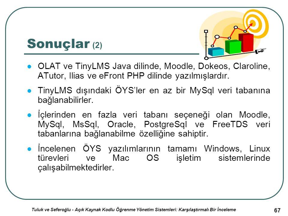 67 Sonuçlar (2) OLAT ve TinyLMS Java dilinde, Moodle, Dokeos, Claroline, ATutor, Ilias ve eFront PHP dilinde yazılmışlardır.