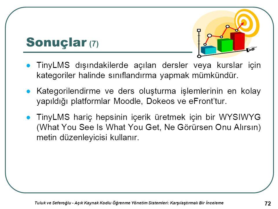 72 Sonuçlar (7) TinyLMS dışındakilerde açılan dersler veya kurslar için kategoriler halinde sınıflandırma yapmak mümkündür.