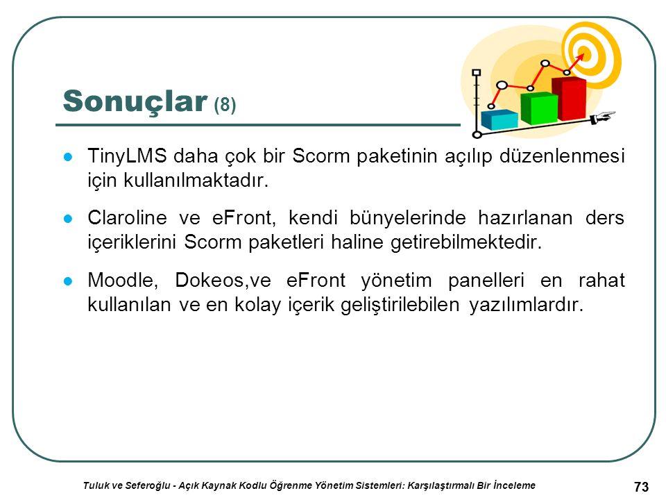 73 Sonuçlar (8) TinyLMS daha çok bir Scorm paketinin açılıp düzenlenmesi için kullanılmaktadır.