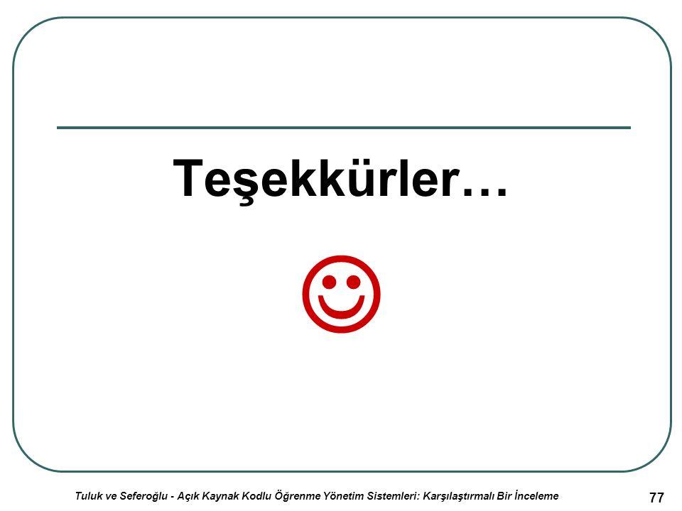 Teşekkürler… 77 Tuluk ve Seferoğlu - Açık Kaynak Kodlu Öğrenme Yönetim Sistemleri: Karşılaştırmalı Bir İnceleme