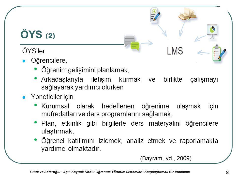 59 Açık Kaynak Kodlu ÖYS'lerin Mukayeseli Genel Değerlendirme Sonuçları (2) ÖYS AdıMoodleDokeosClarolineAtutorİliaseFrontTinyLMSOLAT XML Desteği Var Çevrimiçi Sohbet ve Grup Çalışması Çevrimiçi sohbet ve grup oluşturma araçları vardır.