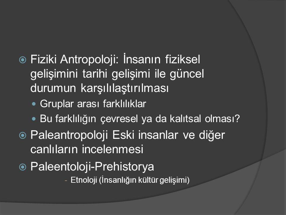  Fiziki Antropoloji: İnsanın fiziksel gelişimini tarihi gelişimi ile güncel durumun karşılılaştırılması Gruplar arası farklılıklar Bu farklılığın çevresel ya da kalıtsal olması.