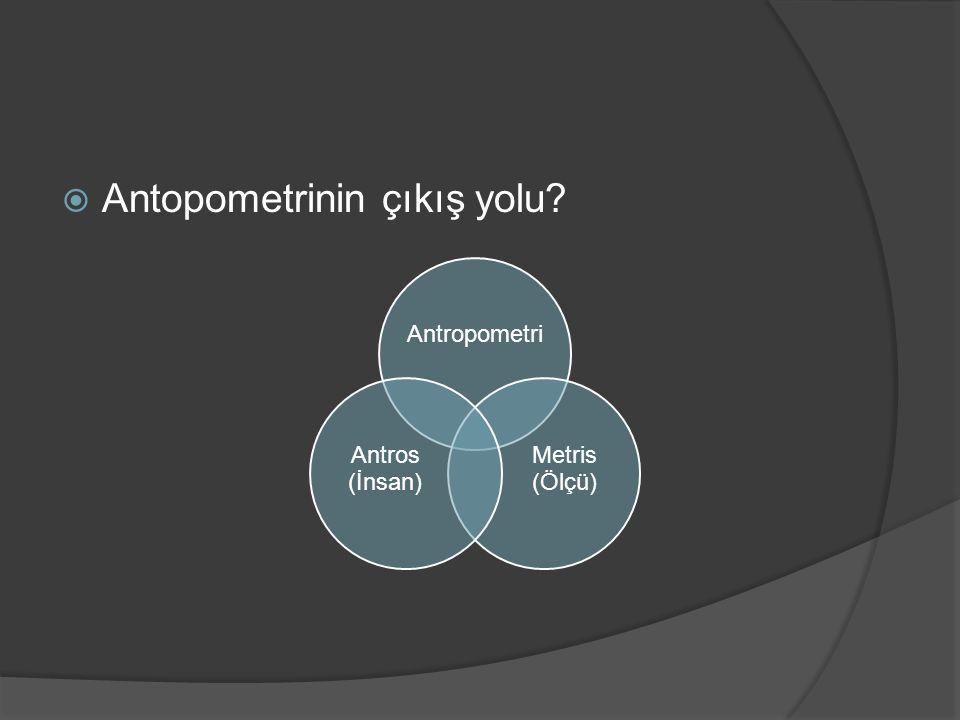  Antopometrinin çıkış yolu? Antropometri Metris (Ölçü) Antros (İnsan)