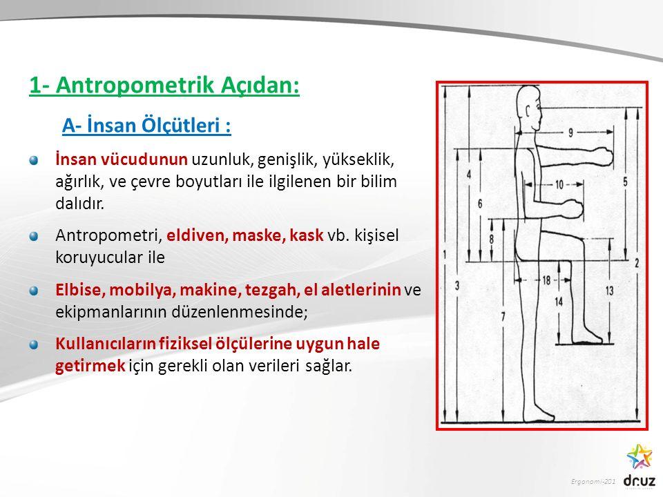 Ergonomi-201 1- Antropometrik Açıdan: A- İnsan Ölçütleri : İnsan vücudunun uzunluk, genişlik, yükseklik, ağırlık, ve çevre boyutları ile ilgilenen bir