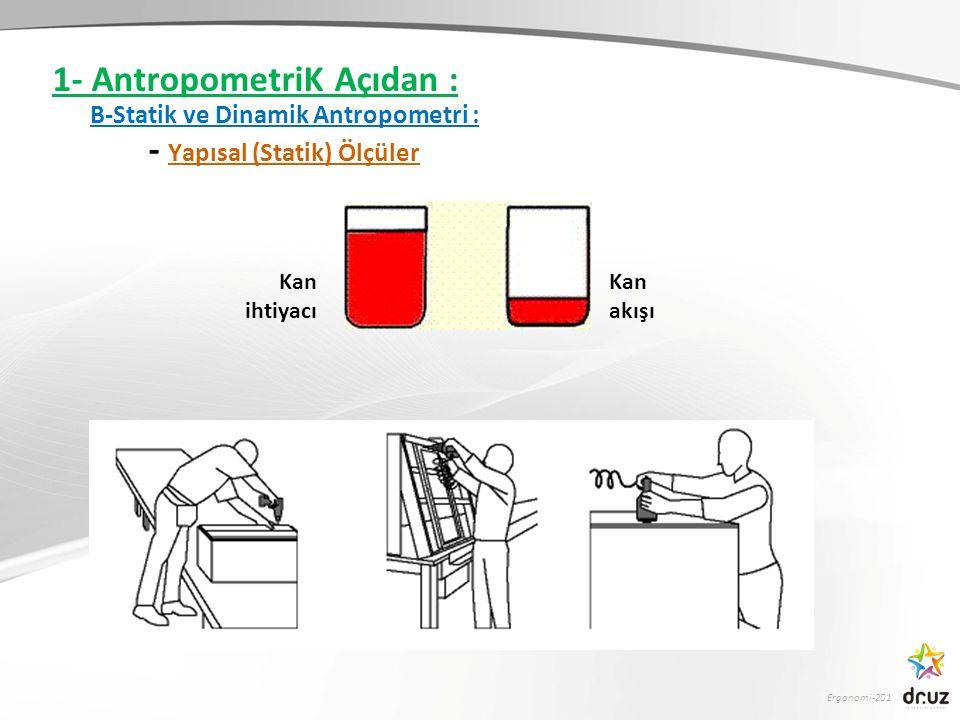 Ergonomi-201 1- AntropometriK Açıdan : B-Statik ve Dinamik Antropometri : - Yapısal (Statik) Ölçüler Kan ihtiyacı Kan akışı