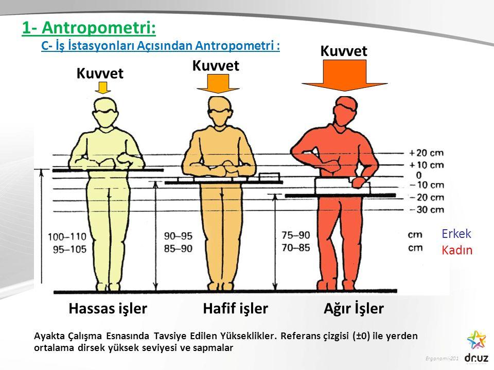 Ergonomi-201 Erkek Kadın Hassas işler Hafif işler Ağır İşler Kuvvet Ayakta Çalışma Esnasında Tavsiye Edilen Yükseklikler. Referans çizgisi (±0) ile ye