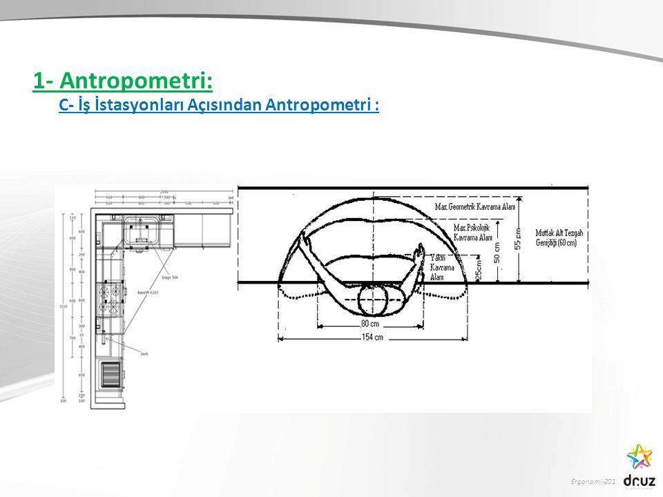 Ergonomi-201 1- Antropometri: C- İş İstasyonları Açısından Antropometri :
