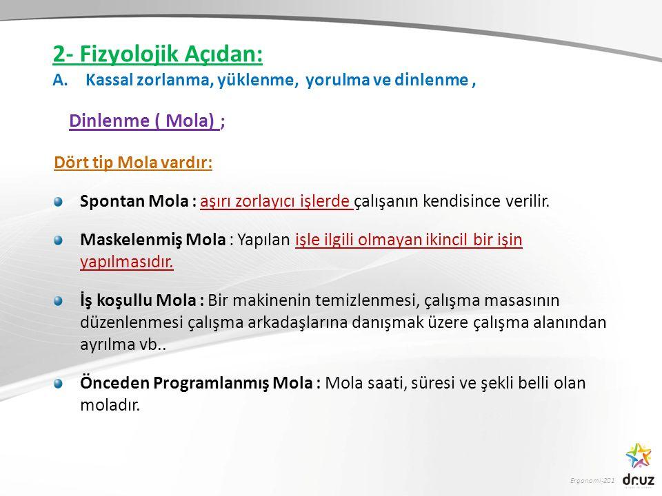Ergonomi-201 Dört tip Mola vardır: Spontan Mola : aşırı zorlayıcı işlerde çalışanın kendisince verilir. Maskelenmiş Mola : Yapılan işle ilgili olmayan