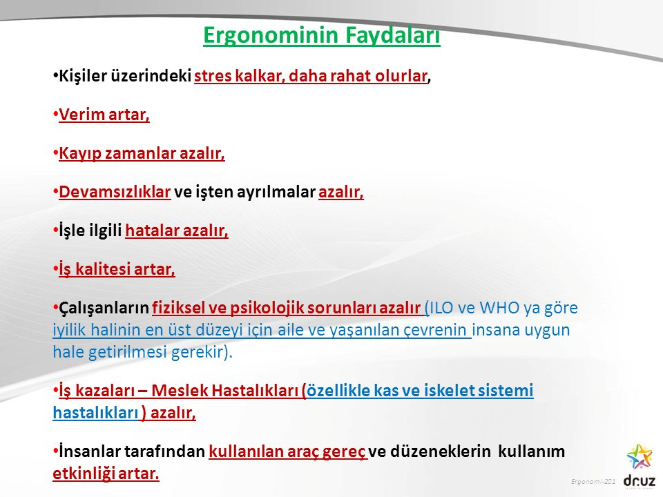 Ergonomi-201  Doğru renklendirme algılamayı düzeltir.