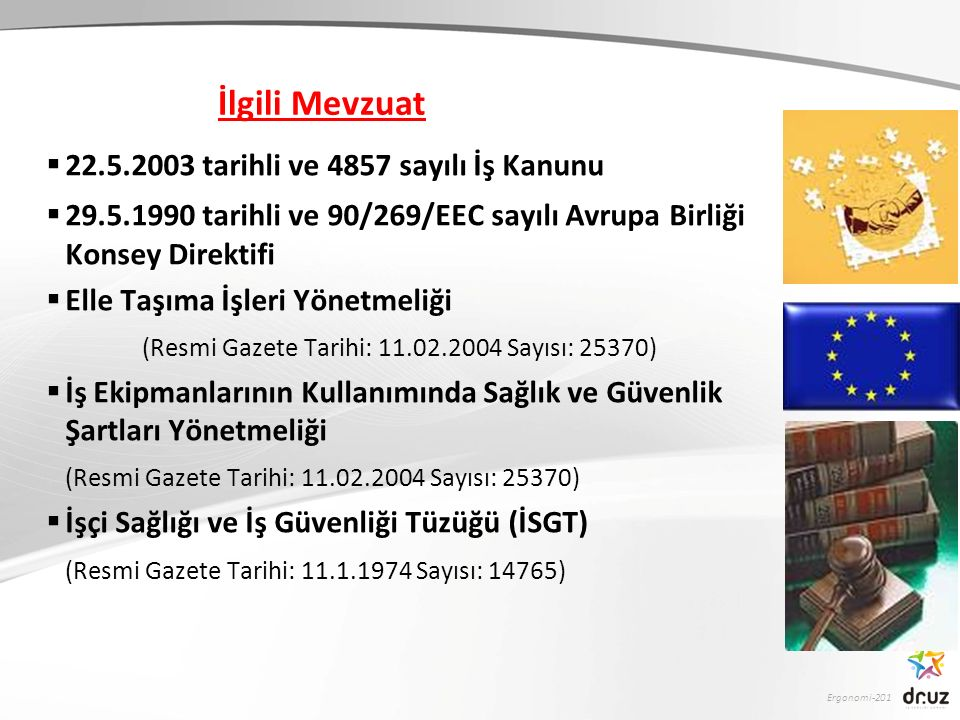 Ergonomi-201 İlgili Mevzuat  22.5.2003 tarihli ve 4857 sayılı İş Kanunu  29.5.1990 tarihli ve 90/269/EEC sayılı Avrupa Birliği Konsey Direktifi  El