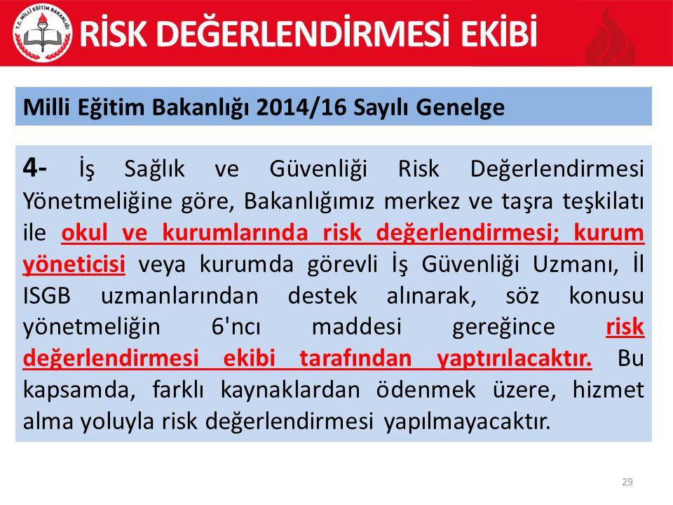 29 Milli Eğitim Bakanlığı 2014/16 Sayılı Genelge 4- İş Sağlık ve Güvenliği Risk Değerlendirmesi Yönetmeliğine göre, Bakanlığımız merkez ve taşra teşkilatı ile okul ve kurumlarında risk değerlendirmesi; kurum yöneticisi veya kurumda görevli İş Güvenliği Uzmanı, İl ISGB uzmanlarından destek alınarak, söz konusu yönetmeliğin 6 ncı maddesi gereğince risk değerlendirmesi ekibi tarafından yaptırılacaktır.