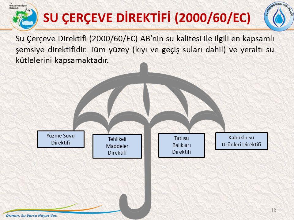 SU ÇERÇEVE DİREKTİFİ (2000/60/EC) Su Çerçeve Direktifi (2000/60/EC) AB'nin su kalitesi ile ilgili en kapsamlı şemsiye direktifidir. Tüm yüzey (kıyı ve