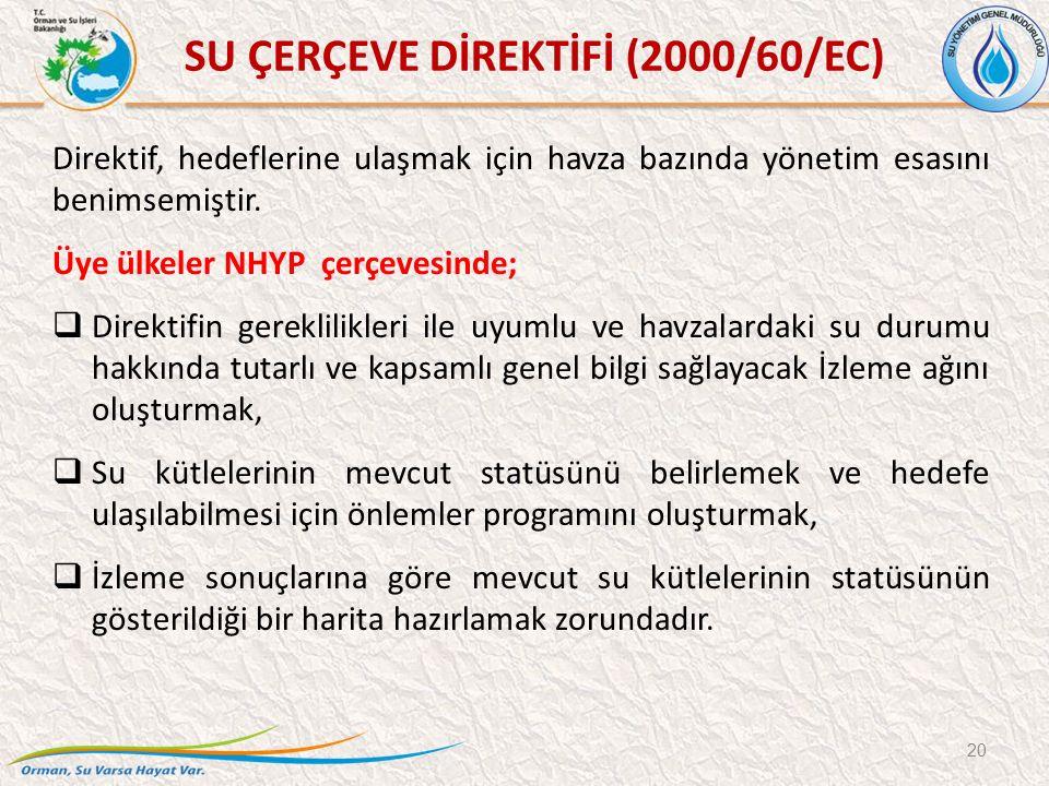 20 SU ÇERÇEVE DİREKTİFİ (2000/60/EC) Direktif, hedeflerine ulaşmak için havza bazında yönetim esasını benimsemiştir. Üye ülkeler NHYP çerçevesinde; 