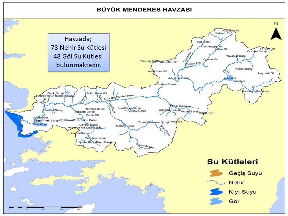 41 Havzada; 78 Nehir Su Kütlesi 48 Göl Su Kütlesi bulunmaktadır.