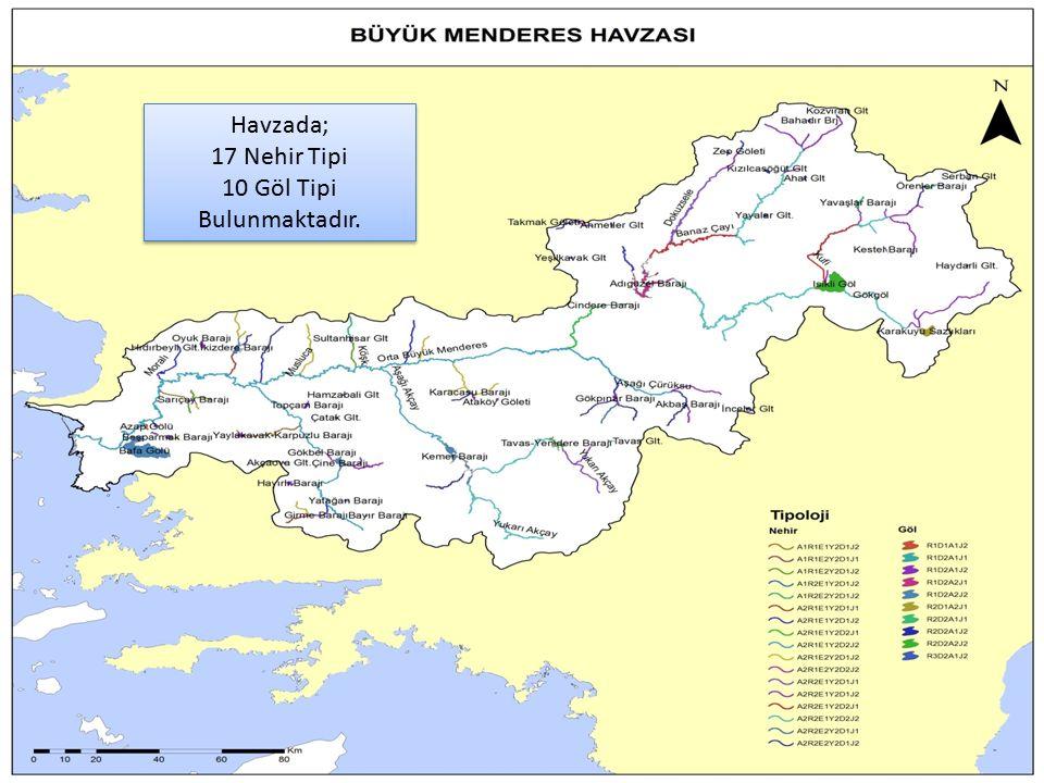42 Havzada; 17 Nehir Tipi 10 Göl Tipi Bulunmaktadır.