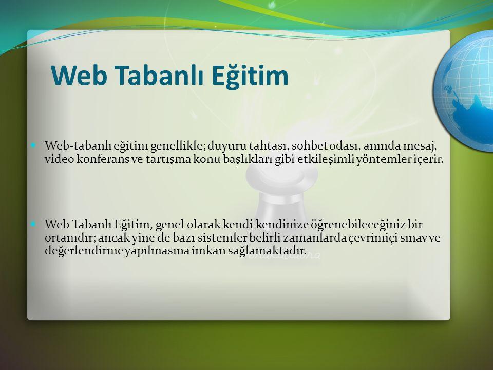 Web Tabanlı Eğitim Web-tabanlı eğitim genellikle; duyuru tahtası, sohbet odası, anında mesaj, video konferans ve tartışma konu başlıkları gibi etkileşimli yöntemler içerir.