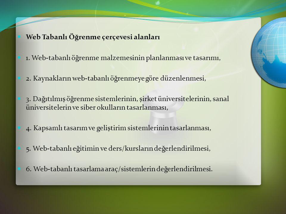 Web Tabanlı Öğrenme çerçevesi alanları 1.