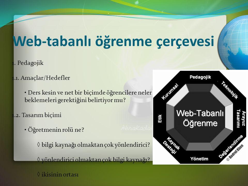 Web-tabanlı öğrenme çerçevesi 1. Pedagojik 1.1.